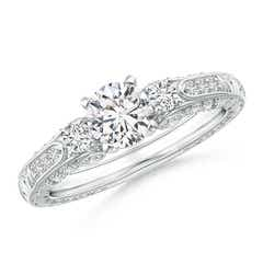 Three Stone Round Diamond Ring with Diamond Accents