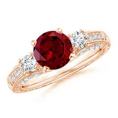 Three Stone Round Garnet and Diamond Ring