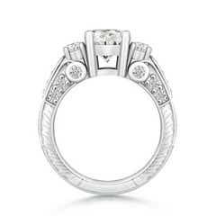 Three Stone Round Moissanite Ring with Accents