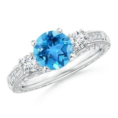 Three Stone Swiss Blue Topaz and Diamond Ring with Accents
