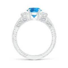 Toggle Three Stone Round Swiss Blue Topaz and Diamond Ring