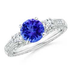 Three Stone Round Tanzanite and Diamond Ring with Accents