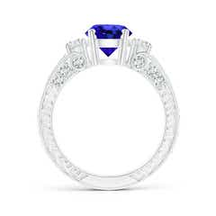 Toggle Three Stone Round Tanzanite and Diamond Ring