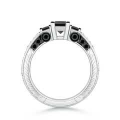 Toggle Princess-Cut Enhanced Black Diamond Three Stone Ring