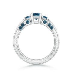 3 Stone Princess Cut Enhanced Blue Diamond Ring with Diamond Accents