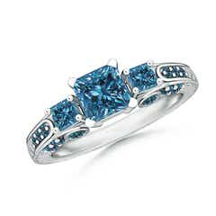 Princess-Cut Enhanced Blue Diamond Three Stone Ring