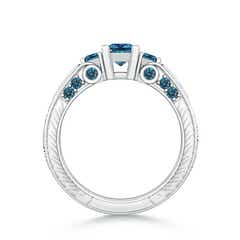Toggle Princess-Cut Enhanced Blue Diamond Three Stone Ring