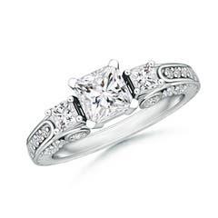Princess-Cut Diamond Three Stone Ring