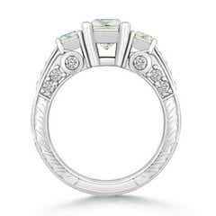 3 Stone Square Moissanite Ring with Accents