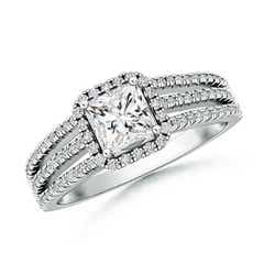 Triple Shank Princess-Cut Diamond Halo Engagement Ring
