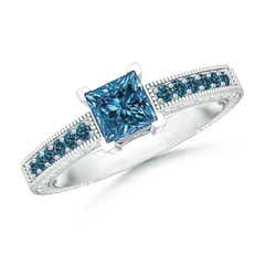 Princess Cut Enhanced Blue Diamond Solitaire Ring with Milgrain Detailing