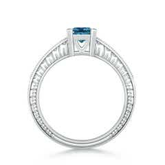 Toggle Princess Cut Enhanced Blue Diamond Solitaire Ring with Milgrain Detailing