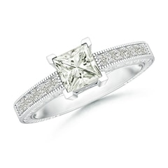 Square Moissanite Solitaire Ring with Milgrain Detailing