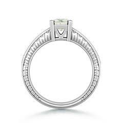 Square Moissanite Solitaire Ring with Milgrain Detailing