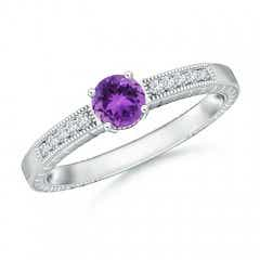 Round Amethyst Solitaire Ring with Milgrain