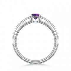 Toggle Round Amethyst Solitaire Ring with Milgrain