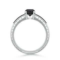 Toggle Round Enhanced Black Diamond Solitaire Ring with Milgrain
