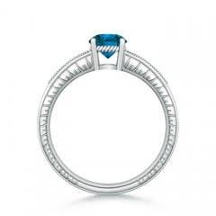 Round Enhanced Blue Diamond Solitaire Ring with Milgrain Detailing