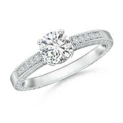 Round Diamond Solitaire Ring with Milgrain