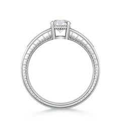Toggle Round Diamond Solitaire Ring with Milgrain