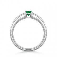 Toggle Round Emerald Solitaire Ring with Milgrain