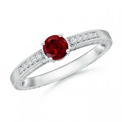 Round Garnet Solitaire Ring with Milgrain