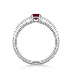 Toggle Round Garnet Solitaire Ring with Milgrain