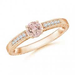 Round Morganite Solitaire Ring with Milgrain Detailing