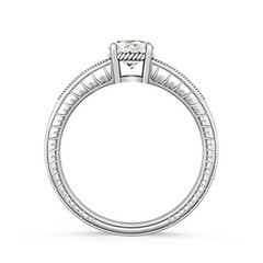 Round Moissanite Solitaire Ring with Milgrain Detailing