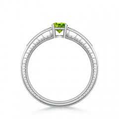 Toggle Round Peridot Solitaire Ring with Milgrain