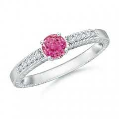 Round Pink Sapphire Solitaire Ring with Milgrain
