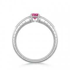 Toggle Round Pink Sapphire Solitaire Ring with Milgrain