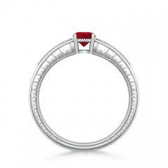 Toggle Round Ruby Solitaire Ring with Milgrain