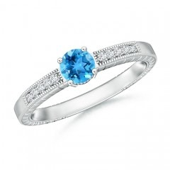 Round Swiss Blue Topaz Solitaire Ring with Milgrain