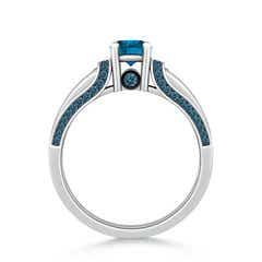 Toggle Vintage Inspired Round Enhanced Blue Diamond Engagement Ring