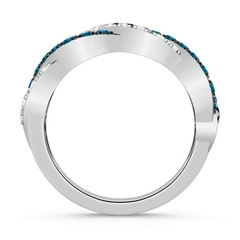Round Enhanced Blue & White Diamond Infinity Twist Wedding Band
