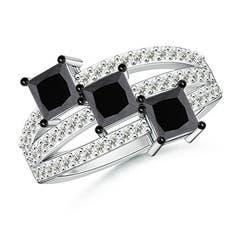Triple Shank Princess Cut Enhanced Black Diamond Three Stone Ring