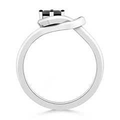 Toggle Princess-Cut Solitaire Enhanced Black Diamond Infinity Knot Ring
