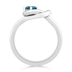 Toggle Princess-Cut Solitaire Enhanced Blue Diamond Infinity Knot Ring