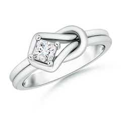 Square Solitaire Moissanite Infinity Knot Ring