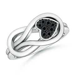 Round Enhanced Black Diamond Knotted Heart Ring