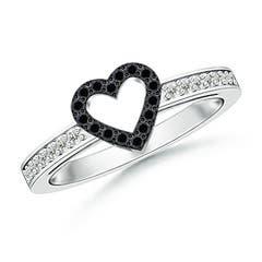 Round Enhanced Black Diamond Open Heart Ring