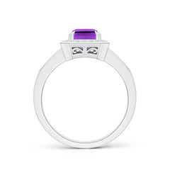 Toggle Emerald-Cut Amethyst Engagement Ring with Diamond Halo