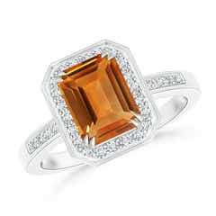 Emerald-Cut Citrine Engagement Ring with Diamond Halo