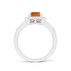 Toggle Emerald-Cut Citrine Engagement Ring with Diamond Halo
