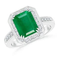 Diamond Halo Emerald Cut Emerald Engagement Ring