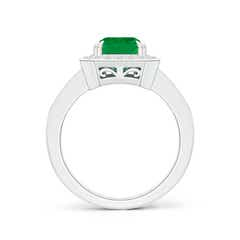 Toggle Emerald-Cut Emerald Engagement Ring with Diamond Halo