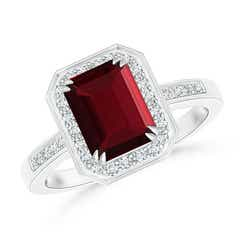 Emerald-Cut Garnet Engagement Ring with Diamond Halo