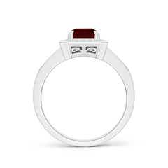 Toggle Emerald-Cut Garnet Engagement Ring with Diamond Halo