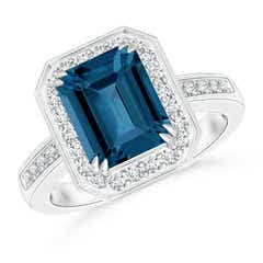 Emerald-Cut London Blue Topaz Engagement Ring with Halo